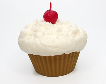 Jumbo Vanilla Cupcake Candle - Topped with a Cherry