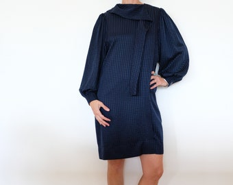 Vintage Silk 'Adele Simpson' Navy Blue Shift Dress - Stunning!