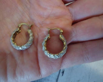 "Vintage Estate 2-Tone Sterling Silver Diamond Accented Pierced Hoop Earrings, 1"" Long, Snap Shut Closure, 6 Grams"
