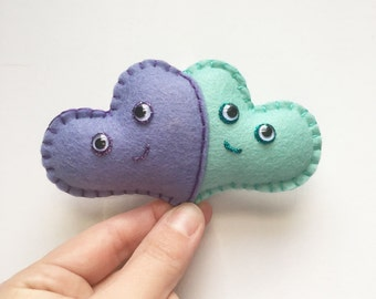 Two Hearts as one plushie, cute heart plush, gift under 20, his and hers mini felt heart, mint love, mustache heart, hand sewn, HibouDesigns