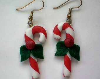 Candy Cane Dangle Earrings for the Holidays - 5010