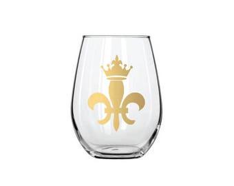 Fleur de Lis Crown Stemless Gold Wine Glass