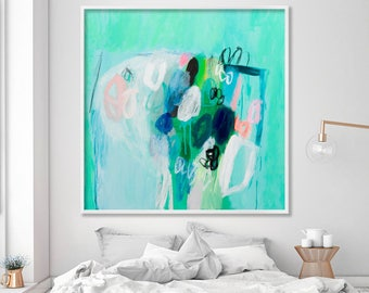 Abstract painting print, Modern wall art, Abstract art print, Abstract wall art Sea foam green Abstract bedroom art by Duealberi