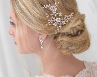 Floral Bridal Hair Pin, Crystal Wedding Hair Pin, Swarovski Crystal Hair Pin, Floral Hair Pin, Bridal Hair Accessory, Bride Hairpin ~TP-2821
