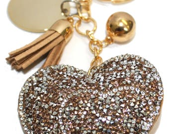 Engraved / Personalised tan sparkles heart handbag charm / keyring in pouch LR82