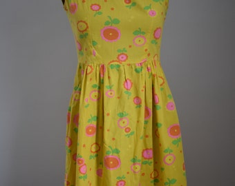 Vintage Bright Yellow Floral 1960's Dress XS/S