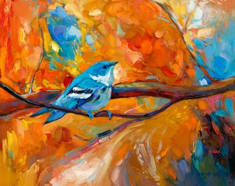 Blue melody 24x20 in, Bird  Painting Original Art Impressionistic OIl on Canvas by Ivailo Nikolov
