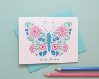 Hello Friend, Thinking of you, Butterfly, just because, Floral, Flowers, Illustration, Notecards, Greeting Card, spring note card, thank you
