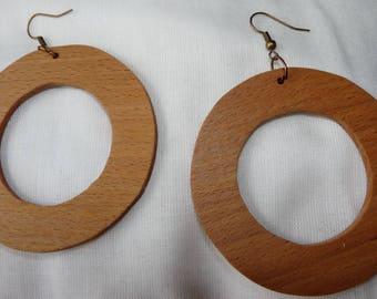 Rustic wood Earrings: large hoop