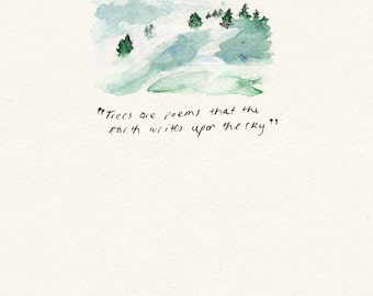 Tree Watercolor Fine Art Painting Fine Art Print Nature Quotes Kitchen Art Print Trees Poems Quote Minimalist Art Minimalist Watercolor