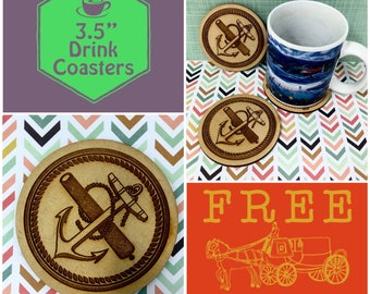 Anchor & Cannon Tattoo Nautical Coasters Set, FREE SHIPPING and Bulk Rate Discount