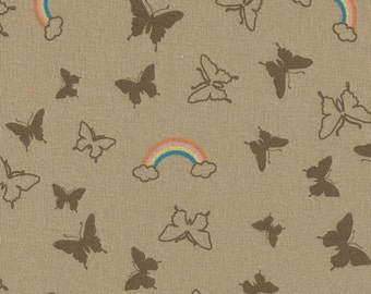 BUTTERFLY RAINBOWs Cotton Baby Rib Knit Fabric, FQ 18x27 inches