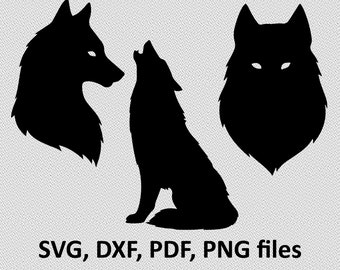 Wolf SVG / Wolf DXF/ Wolf Clipart / Wolf Files, Moon Wolf design, cutting, wolves svg, wolfs svg, wolves, howling wolf, night wolf head