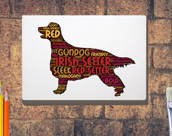 Irish Setter Print or Box Canvas, Word Art, Choice of A4 A3 A2, A1 Red Setter Wordcloud Art Ideal Irish Setter Gift easy to hang Canvas