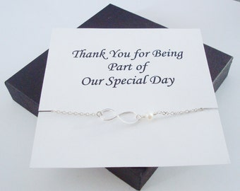 Infinity Charm with White Pearl Silver Bracelet ~~Personalized Jewelry Card for Bridal Party, Friends, Sisters, Mother, Mother of Groom