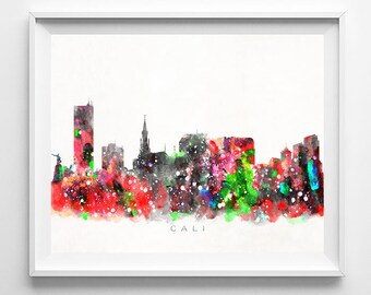 Cali Skyline Print, Colombia Print, Cali Poster, Colombia Cityscape, Watercolor Art, Home Decor, Giclee Art, BedRoom, Fathers Day Gift