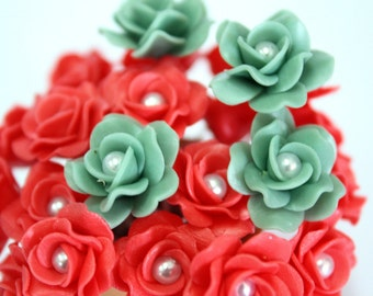 Miniature Roses Polymer Clay Flowers Supplies for Beaded Jewelry 12 pcs. in shade of Red-Moss Green, 2 tones