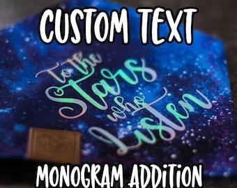 Custom Text Monogram Addition for Dog Bandana - Matte, Glitter & HOLO Options 1-10 Words/Symbols