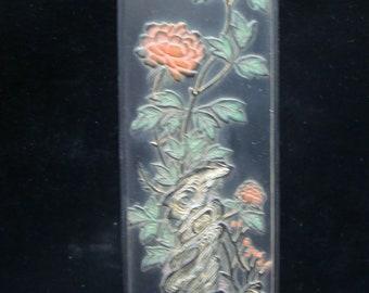 "Rare Old Large Chinese Carving Flowers Black Ink Stick ""HuKaiWen"" Mark"
