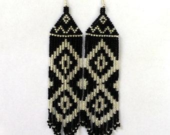 Native  American Beaded Earrings  Inspired. Silver Black Earrings. Long Earrings.  Beadwork.