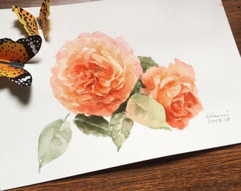 "Original flower watercolor,two together,blooming roses,original painting,8""3x11""8,aquarelle originale,garden,home decor"