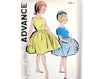 Girls' Mad Men Style Dress Pattern / Button-Back Dress with Full Skirt / 1960 UNCUT Vintage Sewing Pattern / Advance 2865 / Size 8