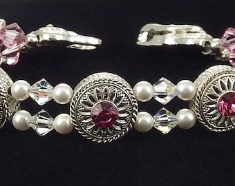 Rose Crystal Bracelet with Swarovski Crystals and Magnetic Clasp!