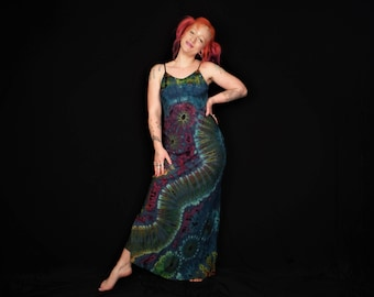Tie Dye Maxi Dress Boho Sea Blue Summer Hippy Festival Dress Bohemian Hippie Colourful Holiday Dress