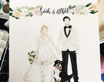 Custom watercolor wedding couple, wedding watercolor gift