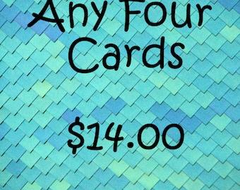 Greeting card set, discounted card set, four greeting cards, photo notecard set, greeting card bundle, photo card set, blank notecard set