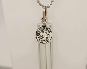 Capricorn Birth Sign Cremation Urn Necklace || Capricorn Ashes Keepsake || Engravable