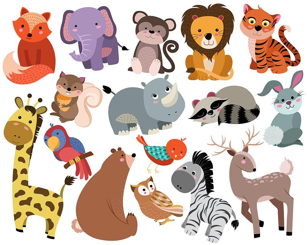cute animals clip art set of 16 hand drawn 300 dpi vector rh etsy com clip art animals cartoon clipart animals pictures free download