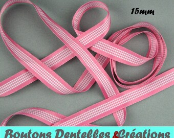 Satin Ribbon and gingham - 15mm - 5 m - (pink, 15-01)