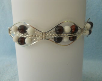 Red Tigereye and White Jade Beaded Bracelet in Sterling Silver