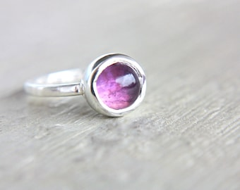 SALE 50% OFF Amethyst Ring Sterling Silver Stacking Ring Stacker Silversmithed Metalsmithed Size 6