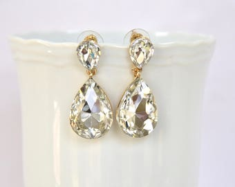 Gold Crystal Bridal Earrings Bridesmaids Earrings Bridesmaid Gift Drop Earrings Bridal Jewelry Wedding Jewelry
