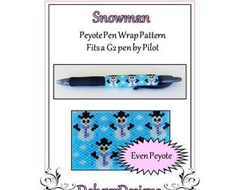 Bead Pattern Peyote(Pen Wrap/Cover)-Snowman