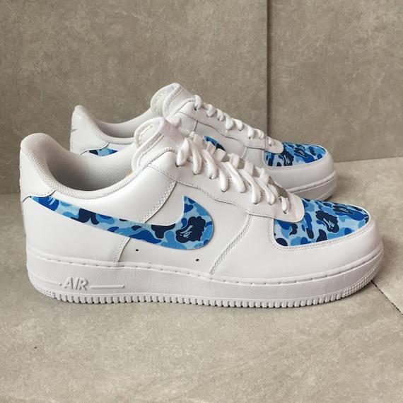 Custom Nike Air Force 1 Low | Bape Blue Camo