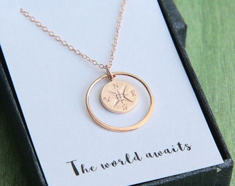 Compass necklace, Rose Gold Compass Necklace, Graduation Gift for Her, Graduation Necklace, The World awaits, Journey Necklace,Class of 2018
