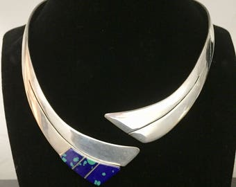 Sterling Silver Choker Necklace made in Mexico accented with Dark Blue and lighter blue turquoise .