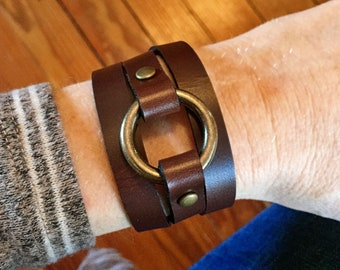 Leather and Brass Bracelet / Wrap Bracelet / Brown, Black, Whiskey, Natural, Cocoa / Joanna Gaines Jewelry