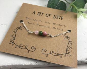 Valentines Day Gift, Love Bracelet, Heart Chakra, Sentimental Bracelet, Valentines Bracelet, Gemstone Bracelet