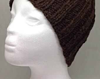 Ladies brown beanie hat.