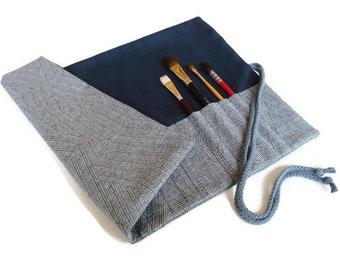 Artist Brush Roll, Navy Blue Paint Brush Holder, Water colour paintbrush roll, handmade brush roll