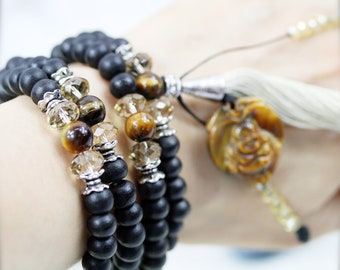 Magnetizing 108 small japa mala (SJM)  - Ebony wood, tiger eye and carved Buddha