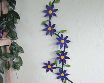 Large Metal Wall Art Flower Vine Sculpture Climbing Trailing Purple Flowers Clematis Kitchen Wall Art Indoor Outdoor Recycled Metal 22 x 42