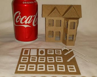 Putz Style Cardboard House- Victorian - DIY Little Village Houses