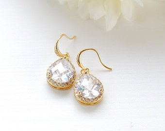 Large Gold Teardrop White Crystal Cubic Zirconia Earrings Wedding Earrings Bridal Earrings Bridesmaid Earrings Bridesmaid Gift Maid of Honor