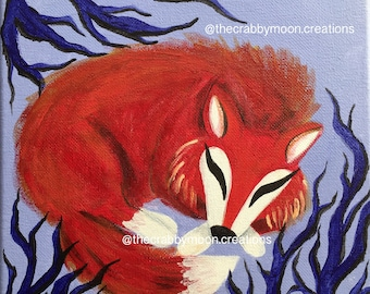 Sleeping Fox- Original Stretch Canvas Acrylic Painting