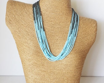 Baby blue and charcoal necklace, light blue necklace, statement necklace, wedding necklace,beaded necklace,bridesmaid necklace,gray and blue